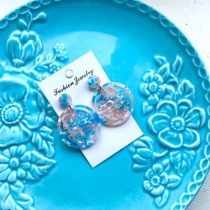 Pink and Blue Resin Acetate Dangle Earrings
